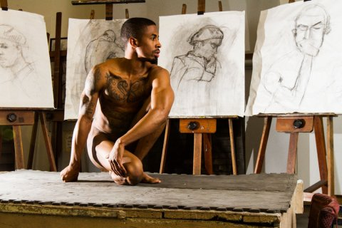 Artist model uses his nude