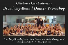 Participants in OCU Dance's Broadway Bound workshop pose for a group photo.