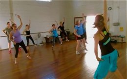 Students in belly dance class
